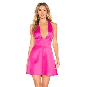 NWT About Us Pink Satin Halter Dress